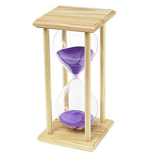 Reloj de Arena púrpura con marco de madera - 60 minutos