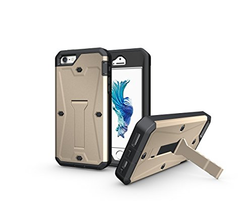 iPhone SE Coque, iPhone 5S Coque, Valenth Tank 3 in 1 Cover with Screen Protector Kickstand Waterproof Dual Layer Holster Hybrid Hard Coque for iPhone SE/5S 4.0inch Grey d'or