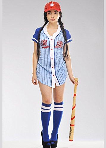Womens Baseball Spieler Babe Kostüm Small (UK 8-10)