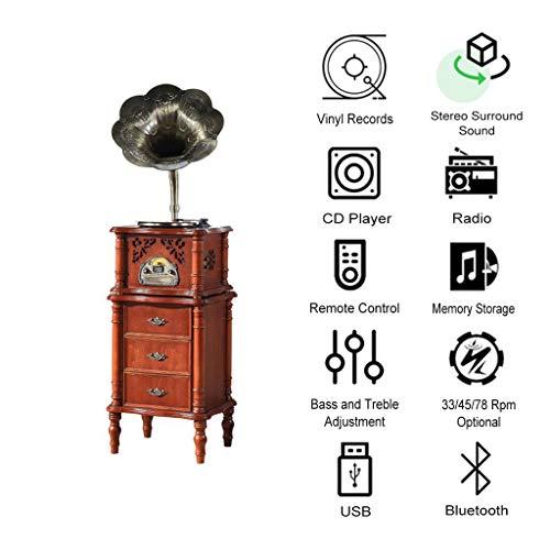 GOM Plattenspieler-Tisch mit Speicher, eingebauten Stereo-Lautsprechern 33/45/78 U/min 3-Gang-Unterstützung Bluetooth/CD/FM-Radio/USB/Cinch-Ausgang GOM-004