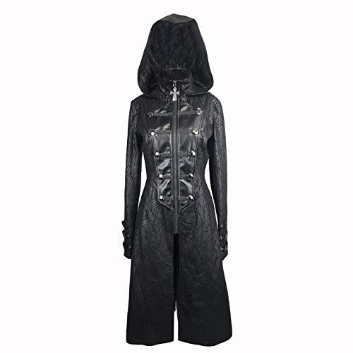WLM Frauen Schwarze Zip Leder Windjacke, Mode