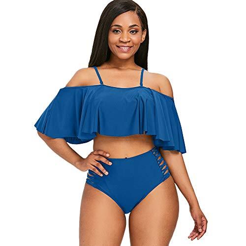ZEZCLO Frauen Sexy Zweiteiler Schulterfrei Rüschen Volant Crop Bikini Oberteil mit Print Ausgeschnittene Böden (M, BLAU) Sexy Boden