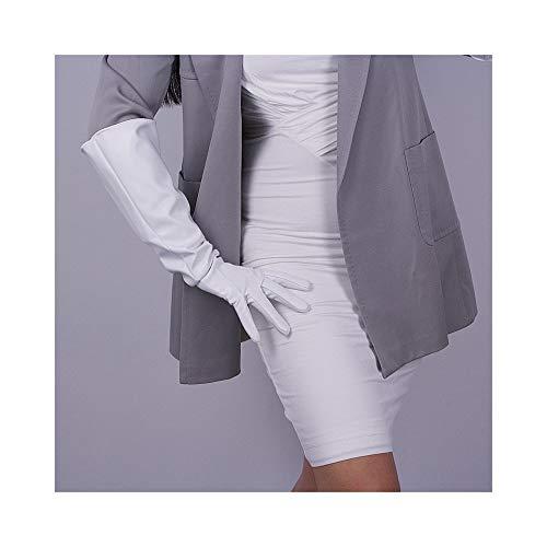 nge Stil Gauntlet Mode eng anliegende Handschuhe Unisex Posh Golve Anzug für vier Jahreszeiten Kunstleder Komfort Handschuhe Frauen Handschuhe (Color : White, Size : M) ()