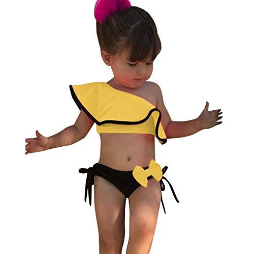 Unisex Kinderbekleidung,ODRD Clearance Sale Sommer Kinder Baby Mädchen Solid Print Rüschen Bow Bademode Badeanzug Bikini Outfits Kinder Kleinkind Kleidung Body Babyschlafsack Kleinkind Sommer -