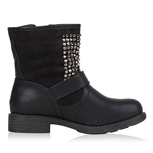 napoli-fashion Damen Stiefeletten Stiefel Biker Boots Nieten Warm Gefüttert Schuhe Jennika Schwarz