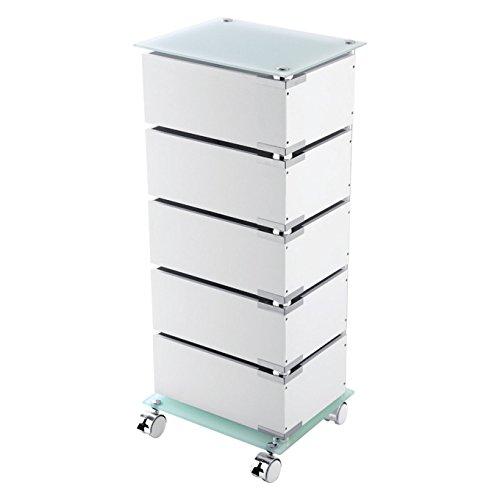 Fünf Schubladen Schrank (FERIDRAS 221007-b Werkstattwagen, 5Schubladen drehbar, Glas, Weiß, 30x 36.5x 91.5cm)