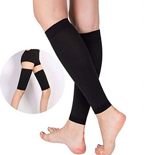 Calcetines de compresión para mujer de Favolook, calcetines para el muslo (sin pie), para la rodilla y pantorrilla, previenen de la fatiga, alivian las hinchazones, previenen de las varices, venas varicosas y mejoran la circulación, UK20170921002, negro