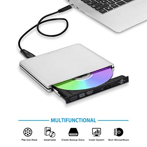 Externe USB3.0 USB C LightScribe DVD CD Brenner Festplatte, tpfeel Aluminium tragbare der U89 usb-c CD/DVD-RW Brenner Player für Apple iMac MacBook und alle Laptop Desktop Laptop Lightscribe-dvd