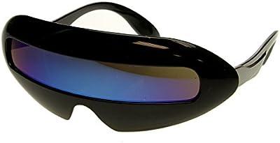 zeroUV-Futurista Cyclops neón Shield color espejo lente Wrap gafas de sol
