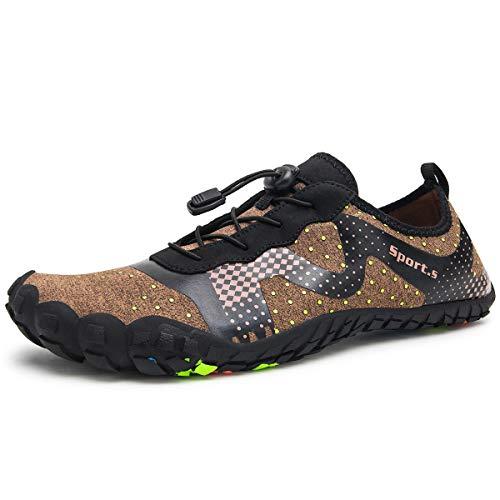 Herren Outdoor Fitnessschuhe Barfußschuhe Trekking Schuhe Badeschuhe Schnell Trocknend Rutschfest(Braun Schwarz,44 EU)