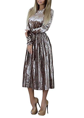 Abiti Da Cerimonia Donna Lunghi Eleganti Vintage Velluto Vestiti Autunno Ragazze Giovane Invernali Manica Lunga Rotondo Collo Vita Alta A Pieghe Cocktail Festa Banchetto Vestito Abito Da Sera