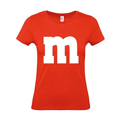 Sport Kostüm Gruppe - Shirt-Panda Damen T-Shirt M&M Gruppen Kostüm Karneval Fasching Verkleidung Party JGA Frauen Orange S