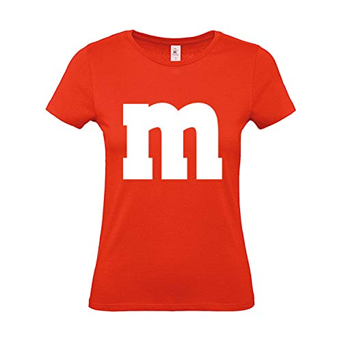 Shirt-Panda Damen T-Shirt M&M Gruppen Kostüm Karneval Fasching Verkleidung Party JGA Frauen Orange - M&m Kostüm Orange