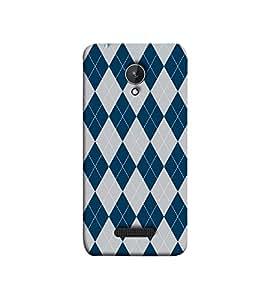 Fuson blue and white cheks theme Designer Back Case Cover forMicromax Canvas Spark Q380 -P-1481