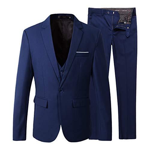 Brüsten Navy Blazer (Benibos Herren Slim Fit Anzug Blazer Jacke Tux Weste Hose 3Stück Set Schneeanzug)