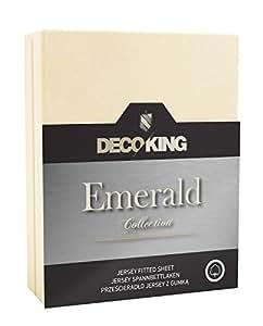 DecoKing 17753 Spannbettlaken 140 x 200 - 160 x 200 cm Jersey 100% Baumwolle Boxspringbett Spannbetttuch Emerald Collection, creme