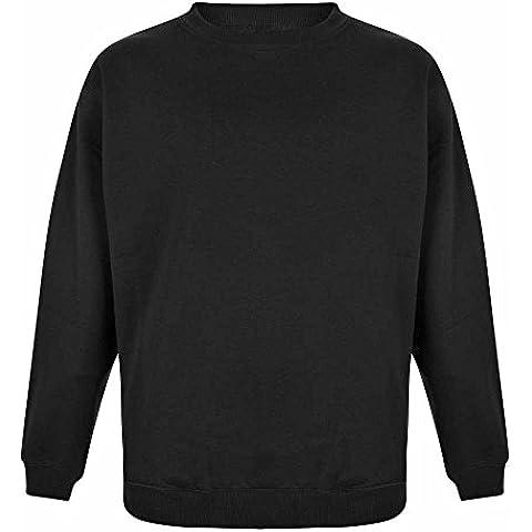 Duke Men's Kingsize Plain Basic Crew Neck Sweatshirt Jumper-Black-5XL