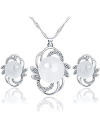 32bbb5b32cb2 fyoriginal Conjunto de Collar y Pendientes Plata de Ley de Perlas de  Imitacion joyeria Elegante para Mujer y Novia…