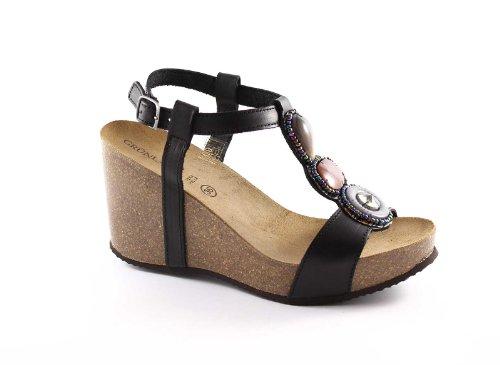 Grünland STAR SB0138 noir sandales compensées femme pierres Birk Nero