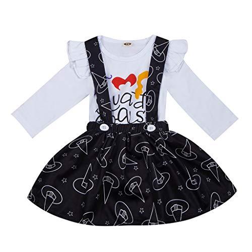 2 teiliges Set Mädchen Halloween Baby Langarm Brief Druck Strampler Druck Kleid Outfit Verkleidung Baby Rock 0-2 Jahre Zeremonie Stil von - Süßes 2 Teiliges Tanz Kostüm