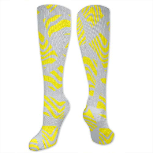CVDGSAD Yellow Texture Polyester Cotton Over Knee Leg High Socken Classic Unisex Thigh Stockings Cosplay Boot Long Tube Socken for Sports Gym Yoga Hiking Cycling Running Football