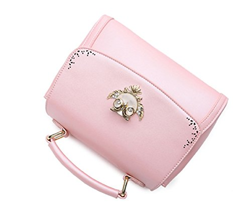 Longzibog Dual verstellbare Schultergurte und H?ngeschlaufenband Mode Simple Style Fashion Tote Top Handle Schulter Umh?ngetasche Satchel Pink
