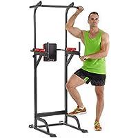 Relaxdays Multiestación Musculación con Altura Ajustable, Metal-Plástico, Rojo y Negro, 230 x 96 x 103 cm