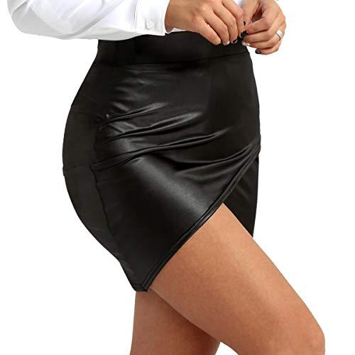 Tiaobug Damen Wetlook Leder Rock Bleistift Röcke Mini Leder Asymmetrisch High Waist Skirt Figurbetont kurz Enger Lederrock in Schwarz gr S-XL Schwarz M(Taille 66-84cm) -