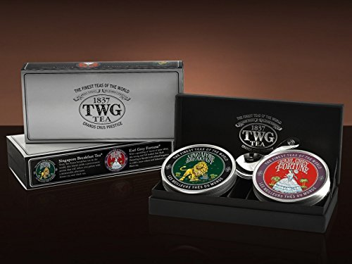 TWG Singapore - The Finest Teas of the World - Grand Explorer Tea Set - 2 x 50gr Kaviar Dose + Silberne Tee Schaufel