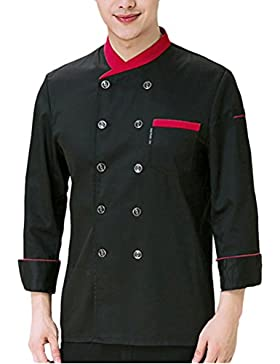 Zhhlinyuan 3 Colors Chefs Uniform Top Comfortable Unisex Long Sleeve Button Jacket