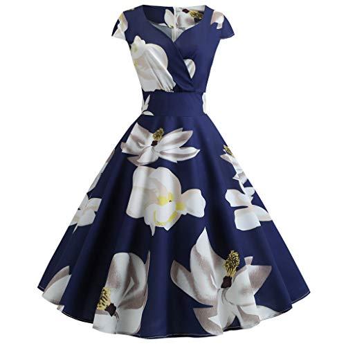 SCHOLIEBEN Kleid Damen Sommer Kleider Sommerkleid Petticoat 50Er 60Er Jahre Vintage Festlich Sexy Rockabilly A-Linien Tunika Schöne Abschlussball Abendkleid Partykleid