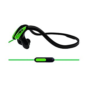 Urbanz SPORTZ Running Sports Gym Stereo Headset Headphones for Running with Apple iphone 6, 6 Plus, 5 5c 5s 4s ipad ipod Touch, Samsung Galaxy S5 S4 S3 Note 3 2 and Android Tablet Phones with Microphone (Green - Mic)
