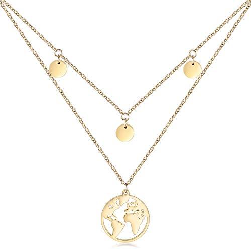 WISTIC Damen Halskette Plättchen Multilayer Weltkartenkette Zweireihige Kette mit 3 Coinkette Edelstahl Coinhalskette Ideale Accessoire