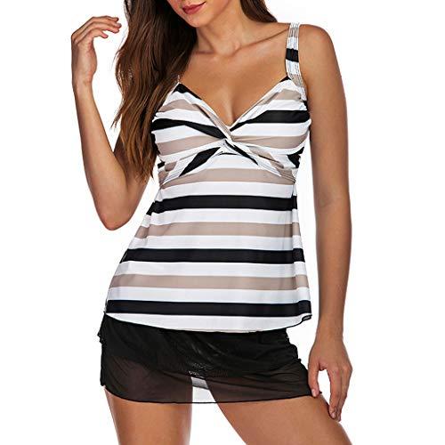 tage Einteiliger Badekleid Frauen Plus Size Blumendruck Tankini Badeanzug Beachwear Gepolsterte Badebekleidung (Schwarz,L4) ()