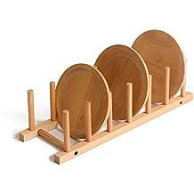 Natural madera maciza estante para platos 2bc0d92adabe