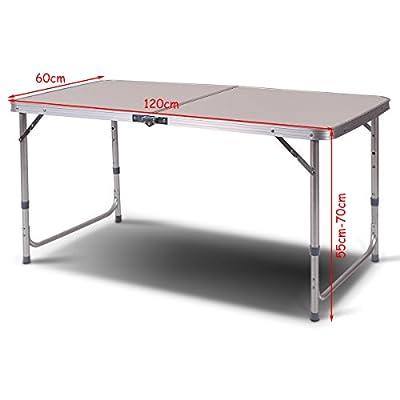 COSTWAY Campingtisch 120x60x70cm Klapptisch Falttisch Gartentisch Koffertisch ALU 3-Fach höhenverstellbar von COSTWAY bei Gartenmöbel von Du und Dein Garten
