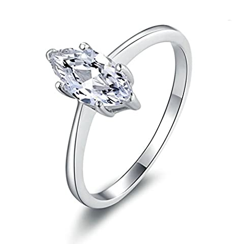 AMDXD Jewelry Sterling Silver Women Promise Customizable Rings Drop CZ