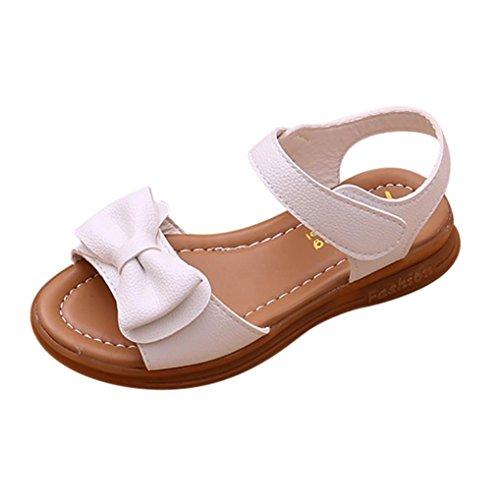 Zapatos Niña,Sandalias de bowknot para niñas pequeñas Calzado casual de princesa antideslizante para niños LMMVP (35(EU), Blanco)