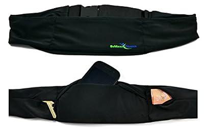 Laufgürtel Running Belt von BeMaxx Fitness: Beste verstellbare Bauchtasche - Hüfttasche mit 3 Fächern für Handy, iPhone, Geld & Schlüssel
