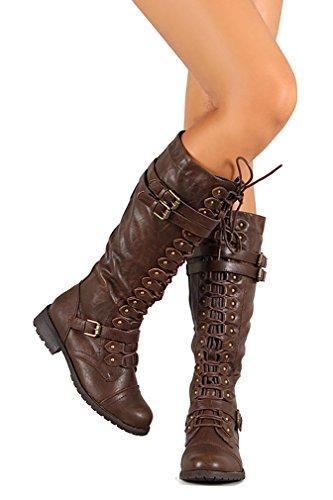 Funky Fourever da donna, ecopelle, con fibbia, in pelle, stringate, con 3 Stivali al ginocchio Marrone (marrone)