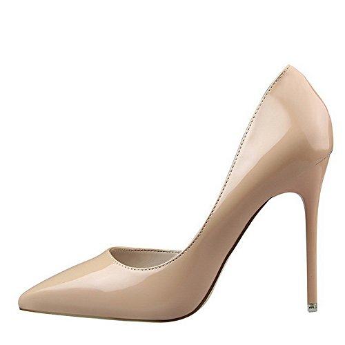 AalarDom Femme Pointu Tire à Talon Haut Couleur Unie Chaussures Légeres Nu-Verni