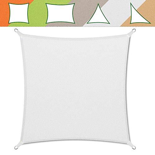 casa pura® Sonnensegel wasserabweisend imprägniert   Testnote 1.4   quadratisch, 3x3m   UV Schutz   viele Farben (weiß)