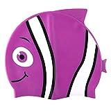 Hochwertige Silikon-Badekappefür Kinder –Schwimmkappe mit Tiermotiv für Mädchen & Jungen–4lustige Fisch-Designs–Haar-Schutz vor Bakterien und Chlor im Schwimmbad, violett