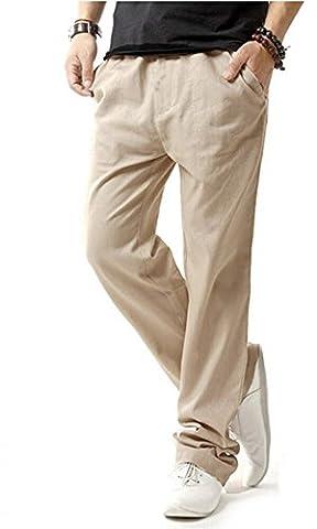 HOEREV Men Casual Beach Trousers linen jean jacket Pants XXX-Large