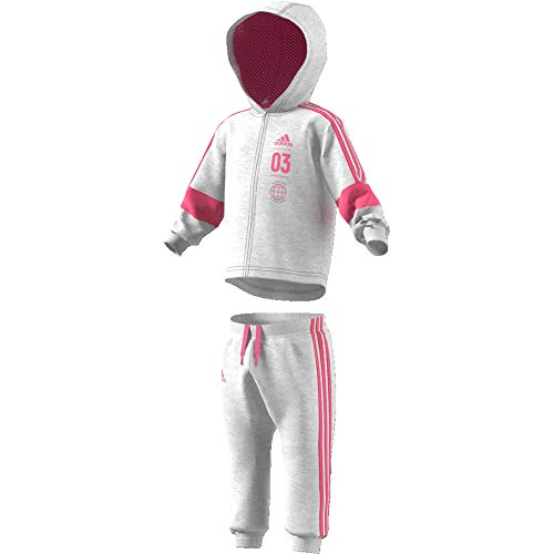 Adidas Logo Hooded Jogger set, Mehrfarbig (light grey heather / semi solar pink), Gr. 92 -