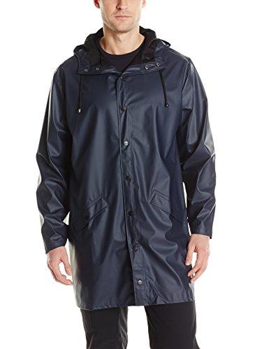 RAINS Herren Regenmantel Long Jacket, blau, Small/Medium (Herstellergröße: Small/Medium)