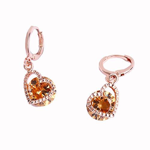 XIANNU Damen-Hängeohrringe,Rose Gold 585 Ohrringe mit Steinen Mode Cubic Zirkon hängende Ohrringe Champagner Herzen Hochzeit Schmuck