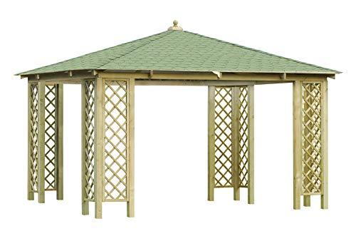 Rimini - Grand Pavillon Rectangulaire de Jardin en Bois avec Toit en Bardeaux Bitumineux Noir ou Verts et Treillis (4.0x4.0m)