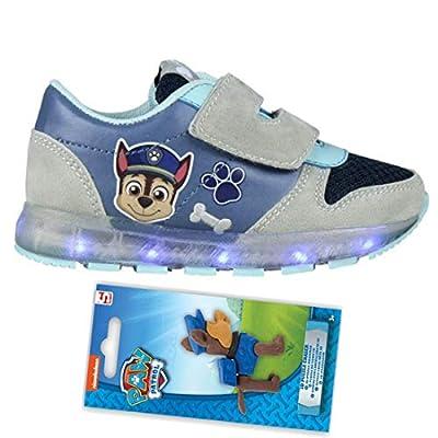 Patrulla Canina - Zapatillas Deportivas con Luz Cierre de Velcro, Deportivas Led Color Azul Chase Paw Patrol Modelo Huellas + Goma de Borrar Figura Puzzle de Regalo