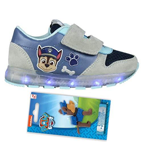 Patrulla Canina Zapatillas Deportivas Con Luz Cierre De Velcro Deportivas Led Color Azul Chase Paw Patrol Modelo Huellas Goma De Borrar Figura Puzzle De Regalo